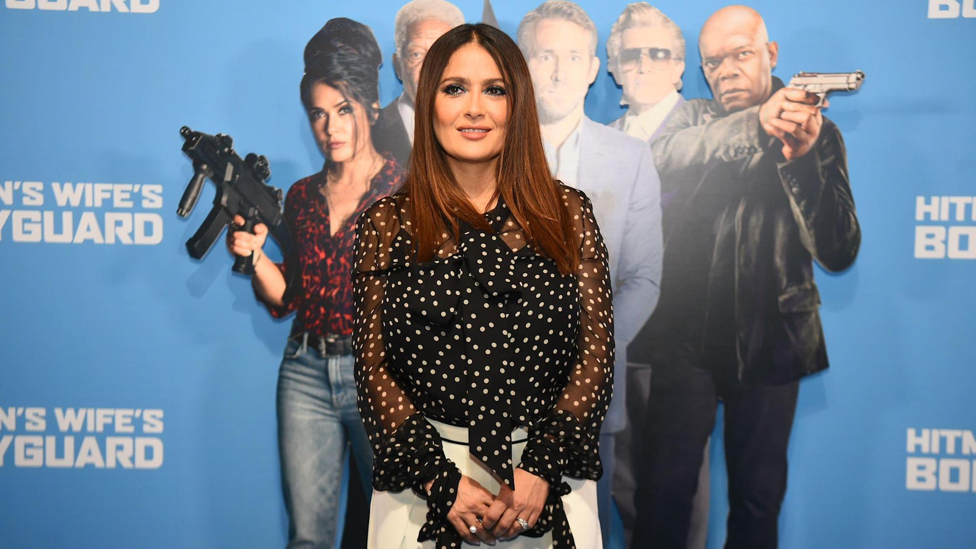 Salma Hayek rubs shoulders with reality TV stars at event for latest film