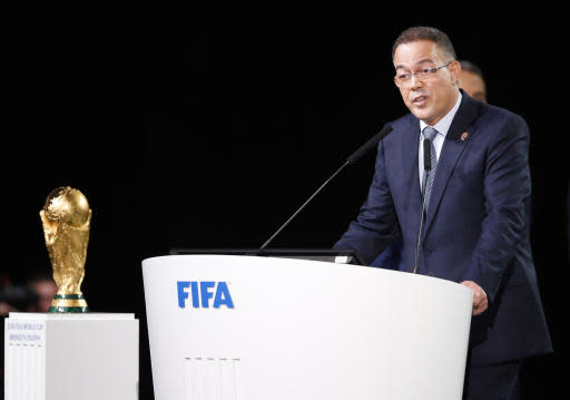 Morocco football federation president Fouzi Lekjaa speaks at the FIFA congress on the eve of the opener of the 2018 soccer World Cup in Moscow, Russia, Wednesday, June 13, 2018. The congress in Moscow is set to choose the host or hosts for the 2026 World Cup. (AP Photo/Alexander Zemlianichenko)