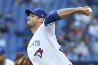 Toronto Blue Jays' Steven Matz pitches against the Cleveland Indians during the first inning of a baseball game Wednesday, Aug. 4, 2021, in Toronto. (Jon Blacker/The Canadian Press via AP)