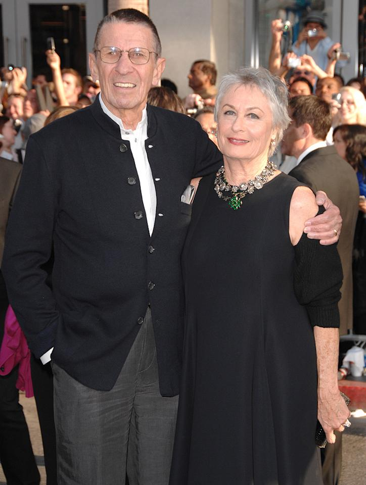 """<a href=""""http://movies.yahoo.com/movie/contributor/1800021221"""">Leonard Nimoy</a> and guest at the Los Angeles premiere of <a href=""""http://movies.yahoo.com/movie/1809752801/info"""">Star Trek</a> - 04/30/2009"""