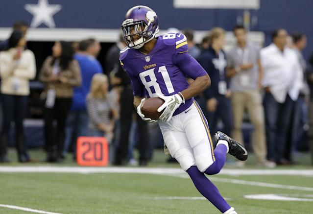 Minnesota Vikings wide receiver Jerome Simpson (81) warms up before an NFL football game against the Dallas Cowboys Sunday, Nov. 3, 2013, in Arlington, Texas. (AP Photo/Nam Y. Huh)