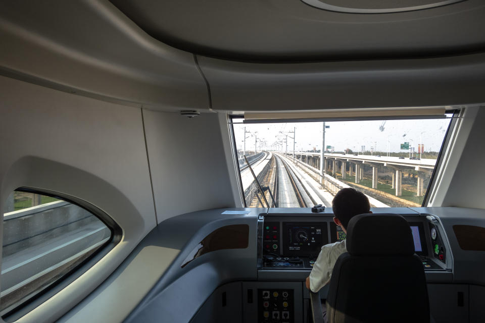 Driver's cabin of a new train, departing from Daxing airport. Beijing Metro Daxing airport line, with a total length of 41 kilometers and a speed of 160 kilometers per hour, is the fastest urban rail transit line in China. (Photo by Zhang Peng/LightRocket via Getty Images)