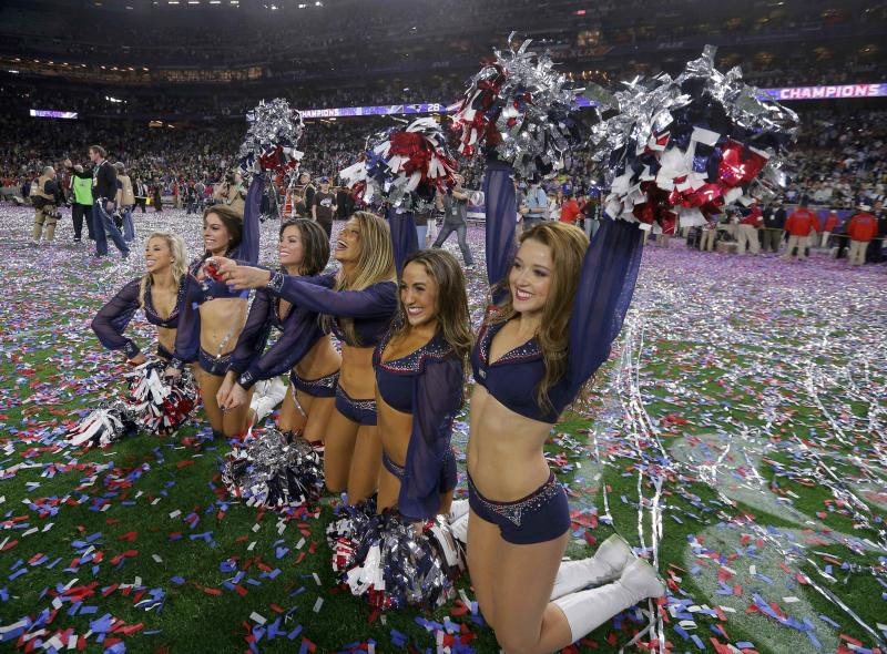 New England Patriots cheerleaders celebrate after their team defeated the Seattle Seahawks in the NFL Super Bowl XLIX football game in Glendale