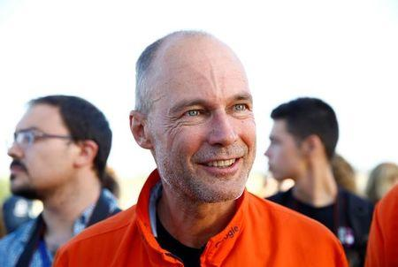 Swiss aviator of the solar-powered plane Solar Impulse 2 Bertrand Piccard, speaks after landing at San Pablo airport in Seville, southern Spain June 23, 2016.   REUTERS/Marcelo del Pozo