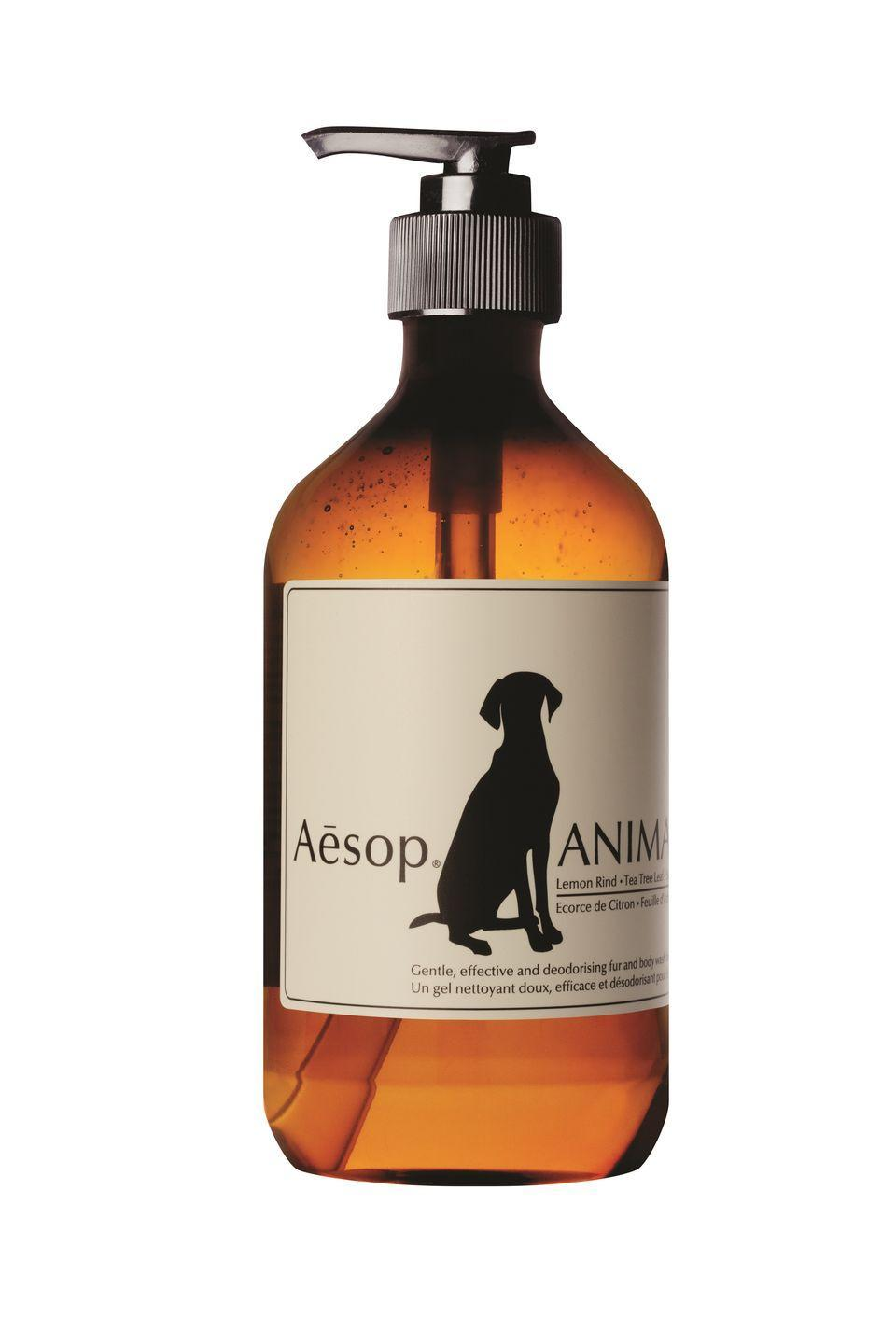 """<p>Make bath time a treat with Aesop's Animal Body Wash. Enriched with lemon rind, tea-tree leaf and cooling spearmint, this mild cleanser removes dirt thoroughly yet gently, while calming sensitive skin and leaving fur smelling divine.</p><p>£27, <a href=""""https://www.aesop.com/uk/p/home/home-formulations/animal/?variant=ABS09RF&gclid=EAIaIQobChMI3p7k_O_A7AIV2t_tCh2REQGZEAQYAyABEgJKdfD_BwE&gclsrc=aw.ds"""" rel=""""nofollow noopener"""" target=""""_blank"""" data-ylk=""""slk:Aesop"""" class=""""link rapid-noclick-resp"""">Aesop</a>.</p>"""