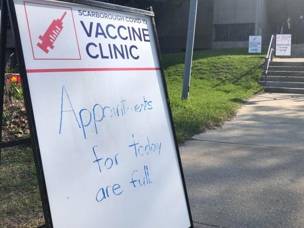 One person who was turned away at the pop-up clinic questioned why there were limited vaccines at the location when the postal code is home to almost 40,000 people.