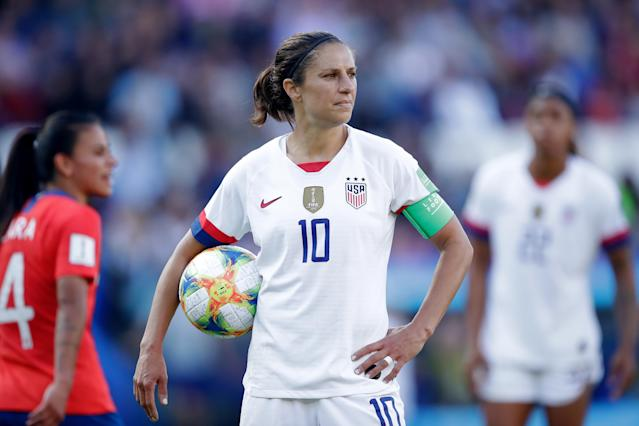 PARIS, FRANCE - JUNE 16: Carli Lloyd of USA Women during the World Cup Women match between USA v Chile at the Parc des Princes on June 16, 2019 in Paris France (Photo by Eric Verhoeven/Soccrates/Getty Images)