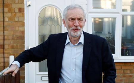 Jeremy Corbyn leader of the Labour Party leaves his home in London