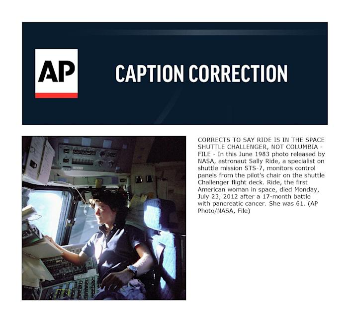 CORRECTS TO SAY RIDE IS IN THE SPACE SHUTTLE CHALLENGER, NOT COLUMBIA - FILE - In this June 1983 photo released by NASA, astronaut Sally Ride, a specialist on shuttle mission STS-7, monitors control panels from the pilot's chair on the shuttle Challenger flight deck. Ride, the first American woman in space, died Monday, July 23, 2012 after a 17-month battle with pancreatic cancer. She was 61. (AP Photo/NASA, File)