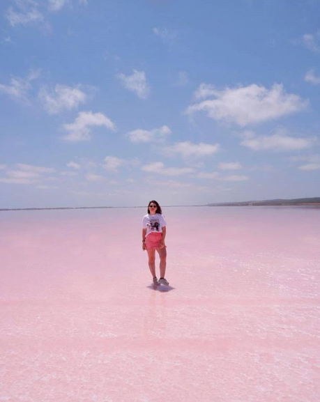 A woman is pictured standing in the Hutt Lagoon. Source: Instagram