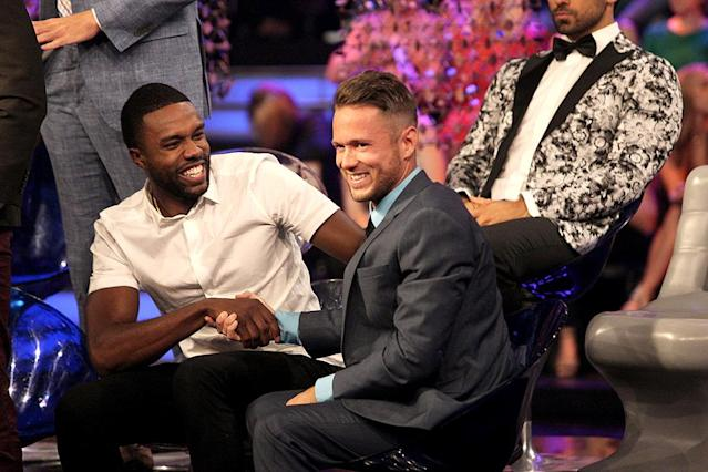 <p>Demario and Lee in ABC's <i>The Bachelorette</i>. <br>(Photo: Paul Hebert/ABC) </p>