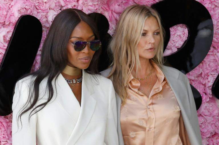British models Naomi Campbell and Kate Moss were among the many A-listers at the show
