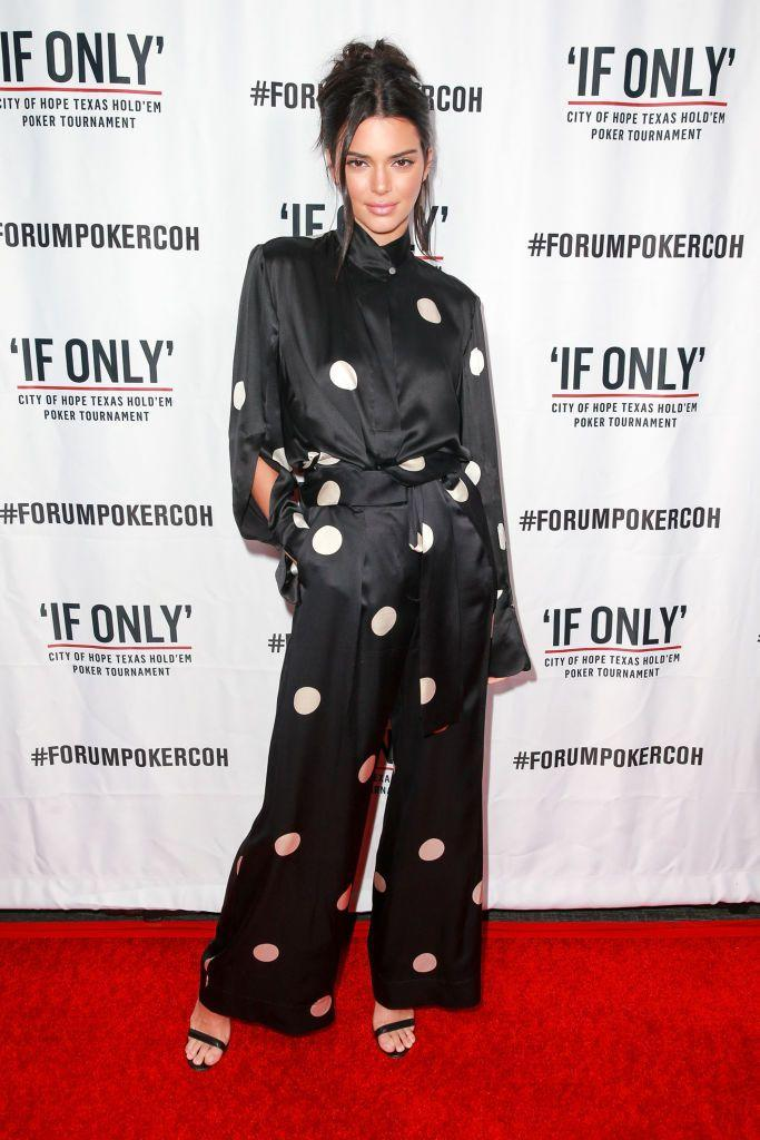 <p>The model wore a Petar Petrov polkadot two-piece to the first annual 'If Only' Texas hold'em charity poker tournament.</p>