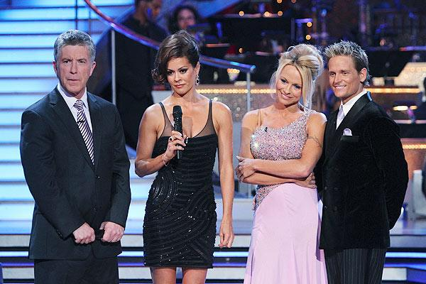 """And another one bites the dust. The sixth couple to be eliminated from """"Dancing With the Stars,"""" Pamela Anderson and Damian Whitewood, bid the show adieu Tuesday night. Anderson told UsMagazine.com after her eviction, """"I never think we're too old to learn something new. I think we have to keep evolving and putting new things in our pockets. I think that helps you live better."""" ABC/ADAM LARKEY"""
