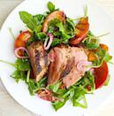"""<p>Sweet peaches are the perfect complement to juicy pork tenderloin and peppery arugula.</p><p>Get the recipe from <a href=""""https://www.delish.com/cooking/recipe-ideas/recipes/a43807/spiced-pork-tenderloin-grilled-peaches-arugula-salad-recipe/"""" rel=""""nofollow noopener"""" target=""""_blank"""" data-ylk=""""slk:Delish"""" class=""""link rapid-noclick-resp"""">Delish</a>.</p>"""