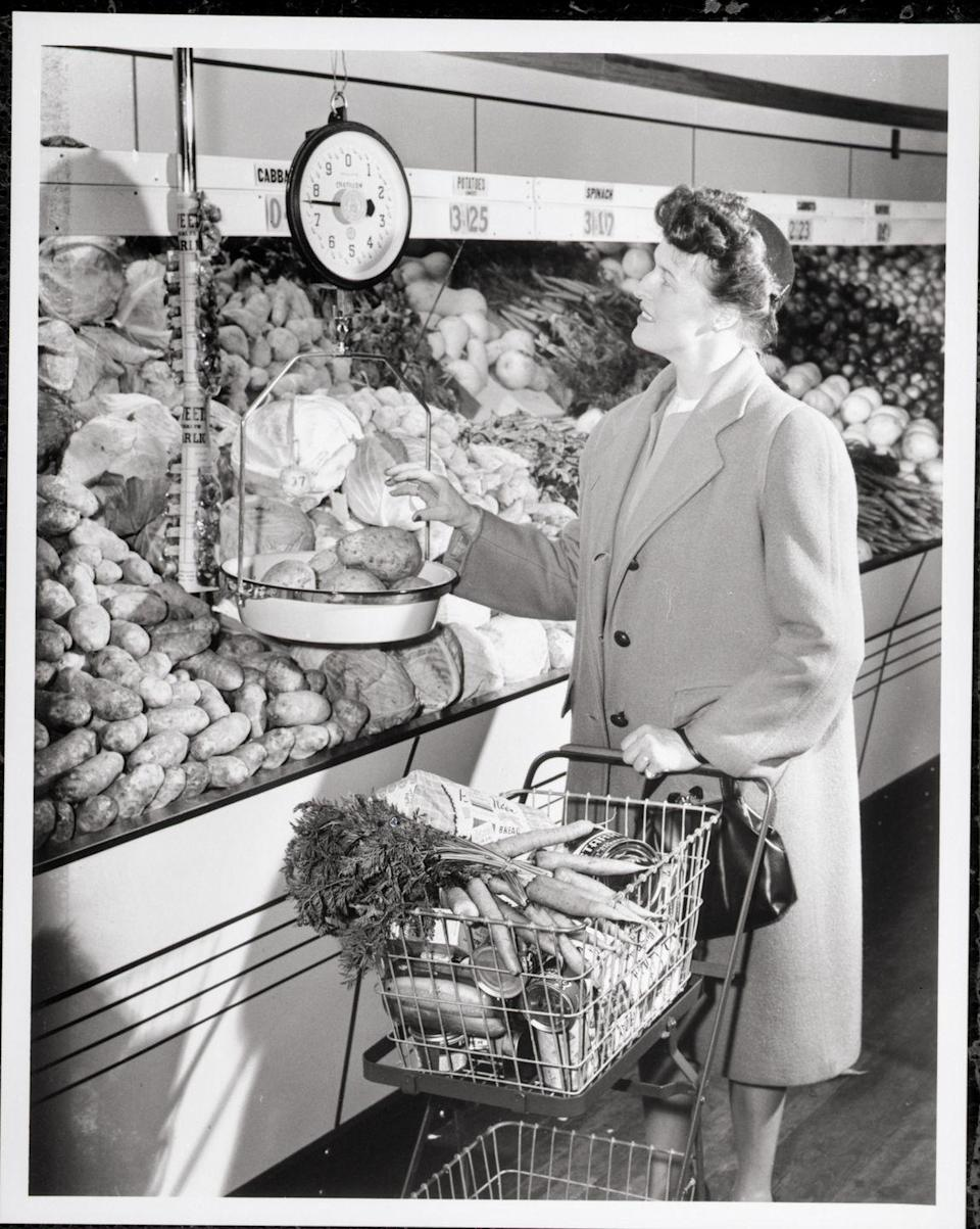 <p>The self-service model extended to shoppers using large balanced scales, which were conveniently hung around the produce department, before heading to the checkout lane.</p>