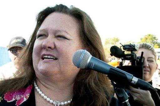 The Australian government on Tuesday halted the approval process for a huge Aus$6.4 billion (US$6.3 billion) coal mine owned by Indian infrastructure giant GVK and the world's richest woman Gina Rinehart (pictured in 2010)