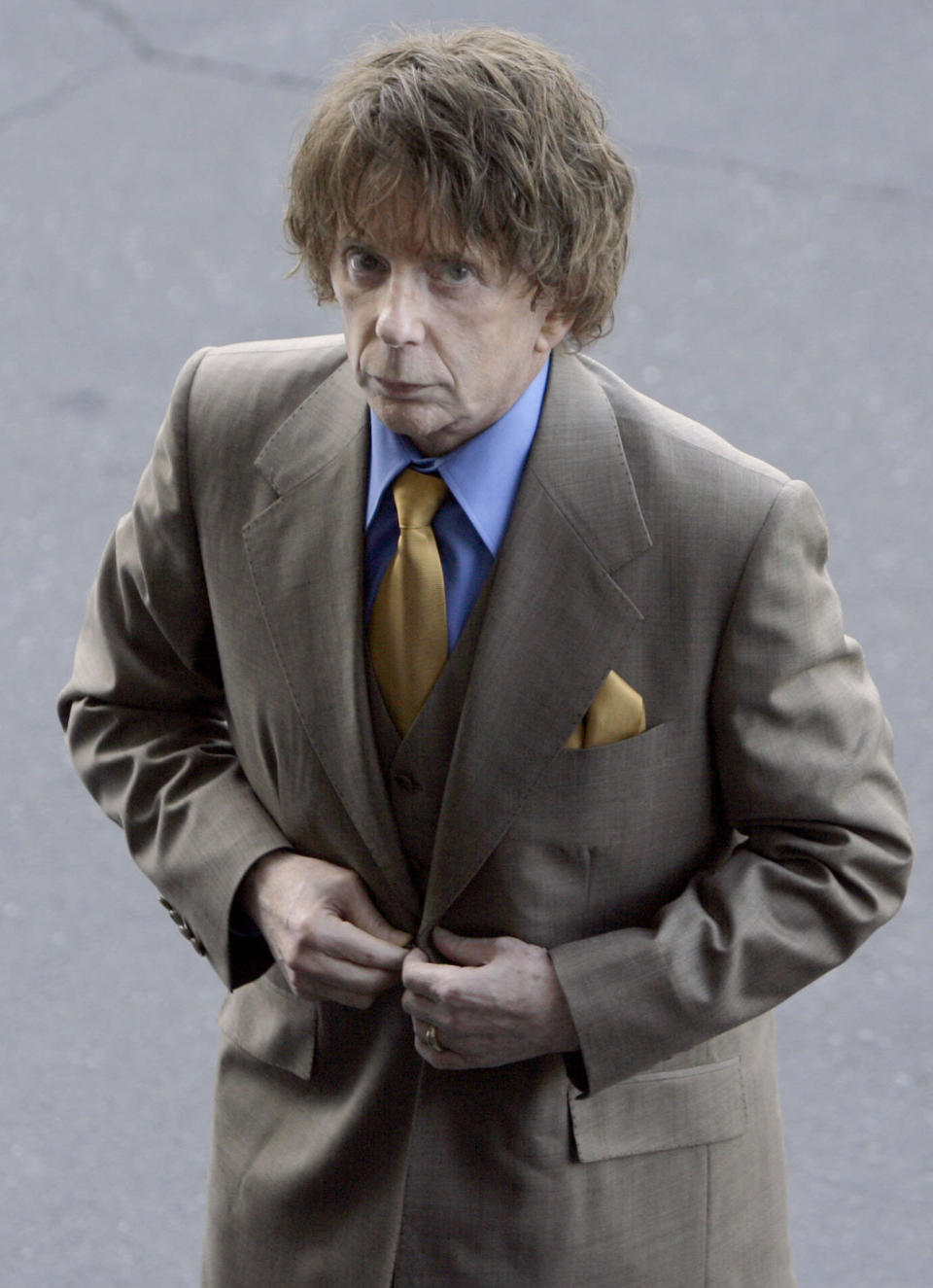 Phil Spector arriving at Los Angeles Superior Court in 2007. Source: AP