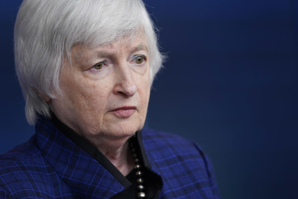 FILE - In this May 7, 2021, file photo Treasury Secretary Janet Yellen speaks during a press briefing at the White House in Washington. (AP Photo/Patrick Semansky, File)