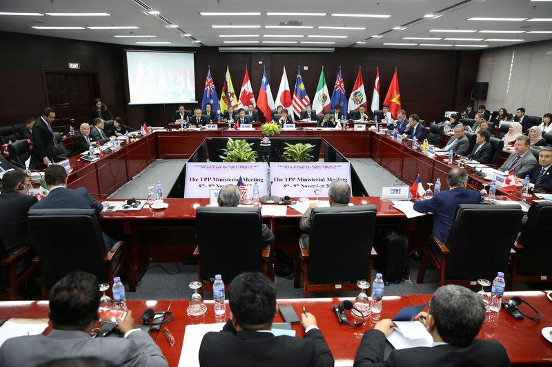 Trade ministers and delegates from the remaining members of the Trans Pacific Partnership (TPP) attend the TPP Ministerial Meeting during the APEC 2017 in Da Nang