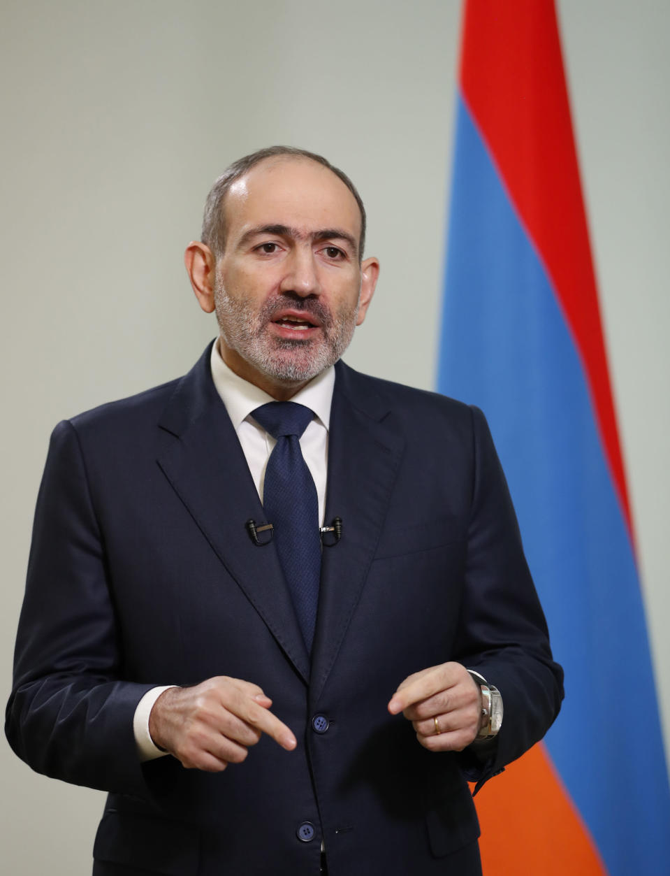 """In this photo provided by the Armenian Prime Minister Press Service via PAN Photo, Armenian Prime Minister Nikol Pashinian addresses the nation in Yerevan, Armenia, Thursday, Nov. 12, 2020. Pashinian said in a series of video statements on his Facebook page that it was """"extremely painful for me personally and for our people,"""" calling the situation a """"catastrophe."""" (Tigran Mehrabyan, Armenian Prime Minister Press Service/PAN Photo via AP)"""