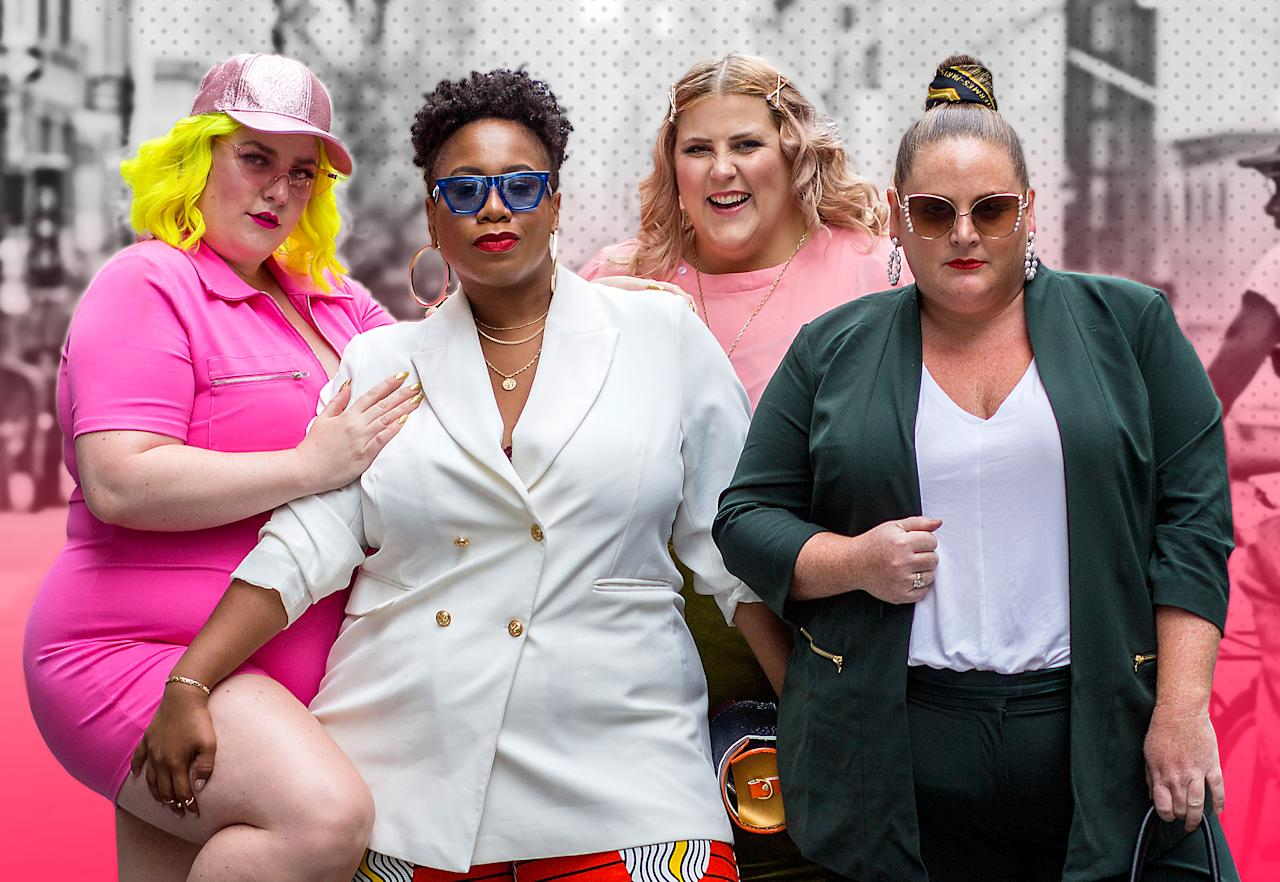 <p>Margie Ashcroft, Kelly Augustine, Meaghan O'Connor und Anna O'Brien posieren im Fashion-Forward-Statement-Look außerhalb der CURVYcon. (Foto: Harald Austad) </p>