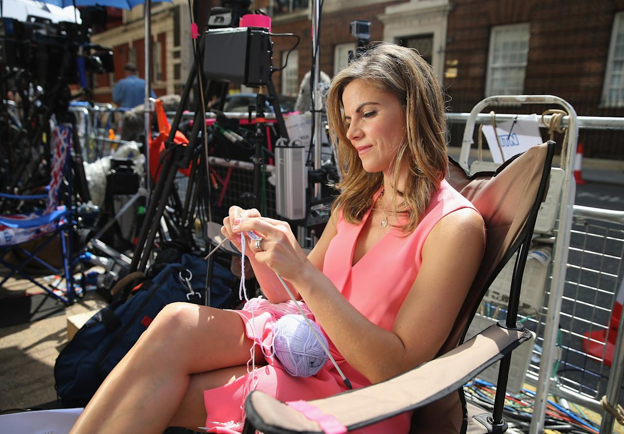LONDON, ENGLAND - JULY 17: News Anchor with NBC Natalie Morales knits to pass the time outside the Lindo wing of St Mary's Hospital as the UK prepares for the birth of the first child of The Duke and Duchess of Cambridge on July 16, 2013 in London, England. (Photo by Chris Jackson/Getty Images)