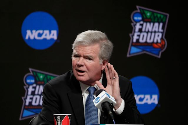 NCAA president Mark Emmert answers questions at a news conference at the Final Four on April 4, 2019. (AP)