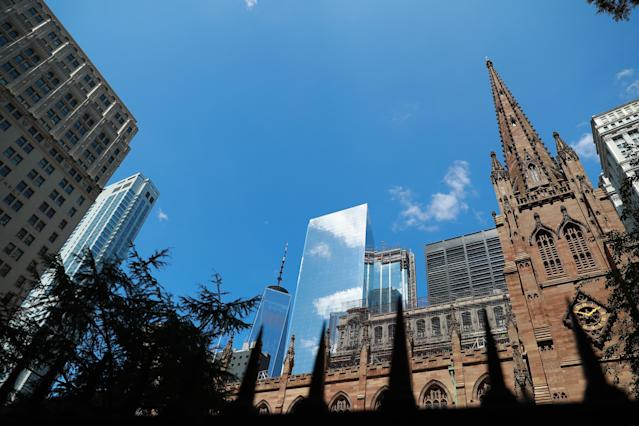 <p>The original World Trade Center towers can no longer be seen from the Trinity Church Cemetery in lower Manhattan, Aug. 13, 2017. (Photo: Gordon Donovan/Yahoo News) </p>
