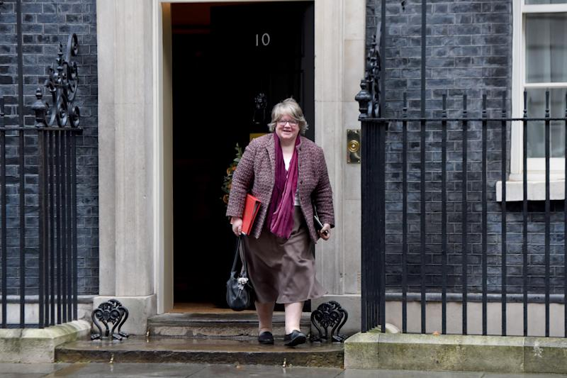 LONDON, UNITED KINGDOM - DECEMBER 17: Secretary of State for Work and Pensions ThZr se Coffey departs 10 Downing Street on December 17, 2019 in London, England. British Prime Minister Boris Johnson is holding the first Cabinet meeting since winning a majority of 80 seats in the General Election last week. (Photo by Kate Green/Anadolu Agency via Getty Images)
