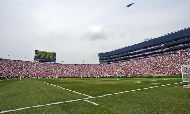 Fans attend a Guinness International Champions Cup soccer match between Real Madrid and Manchester United at Michigan Stadium, Saturday, Aug. 2, 2014, in Ann Arbor, Mich. (AP Photo/Tony Ding)