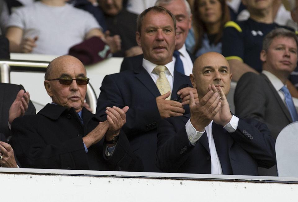 <p>The boat belongs to Spurs owner Joe Lewis (pictured left, with chairman Daniel Levy), the 12th richest person in the UK. (Rex) </p>