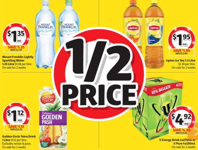Soft drinks and fruit drink selling for half-price at Coles.