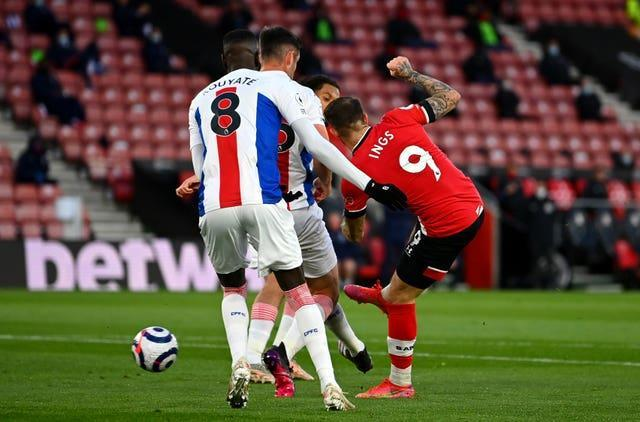 Danny Ings, right, equalises against Crystal Palace