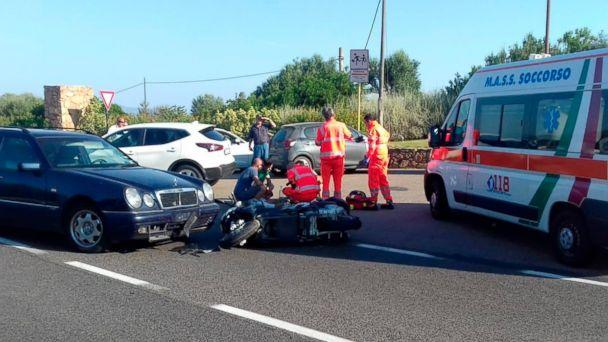 PHOTO: Ambulance personnel tend to George Clooney, after being involved in a scooter accident near Olbia, on the Sardinia island, Italy, July 10, 2018. (Mario Chironi/AP)