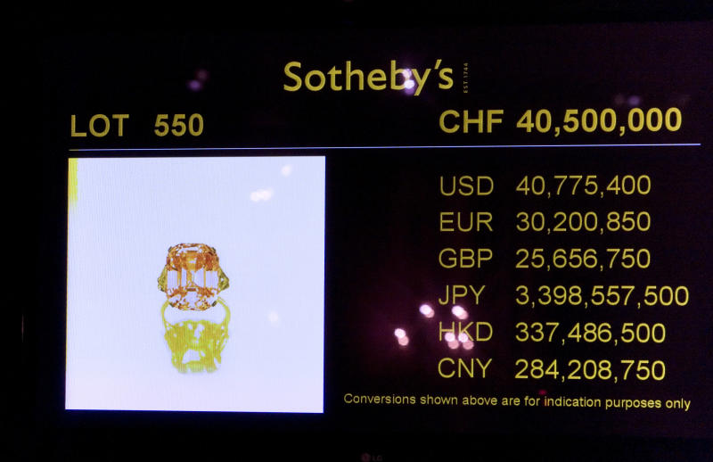 "A screen at Sotheby's auction displays the final bid after a rare pink diamond has smashed the world record for a jewel sold at auction after a well-known gemstone dealer bid over $46 million for the precious stone in Geneva, Switzerland, Tuesday, Nov. 16, 2010. The 24.78 carat ""fancy intense pink"" diamond was sold Tuesday for $46,158,674 by Sotheby's.  (AP Photo/Anja Niedringhaus)"