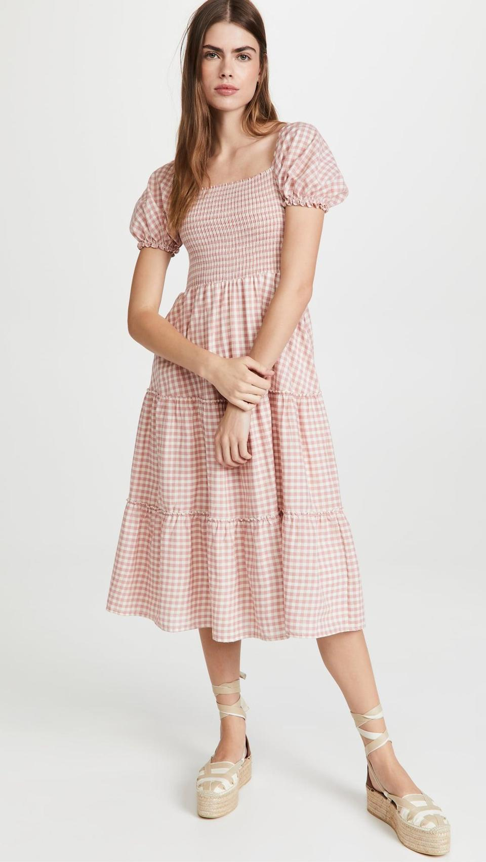 <p>The puff-sleeves on this <span>Peixoto Coco Midi Dress</span> ($148) are a sweet touch. Throw this on during warmer September days.</p>