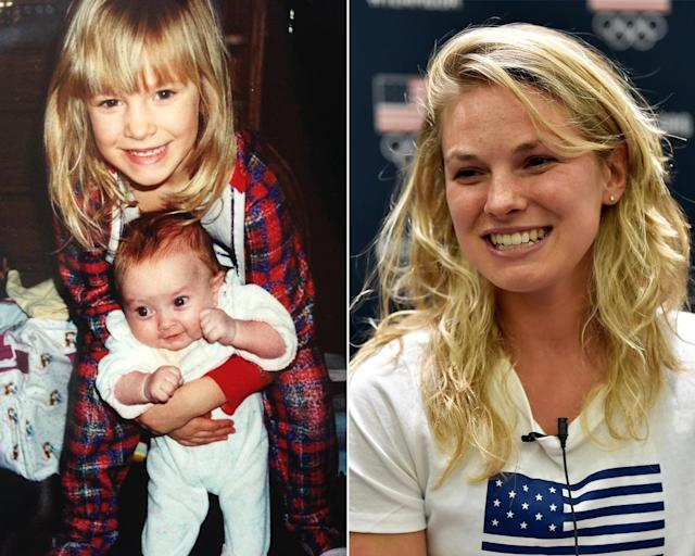 <p><strong>THEN:</strong> Big sister Jessica Diggins looks after her baby sister.<br><strong>NOW:</strong> She's on a quest to become the first American woman to win an Olympic medal for cross-country skiing.<br> (Photo via Instagram/jessiediggins, Photo by Gene Sweeney Jr./Getty Images) </p>