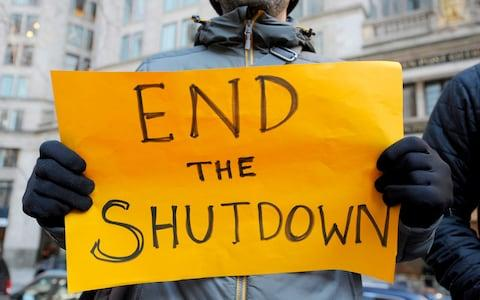 Protesters hold signs during a rally and protest by government workers and concerned citizens against the government shutdown on Friday, January 11 - Credit: Joseph PREZIOSO / AFP