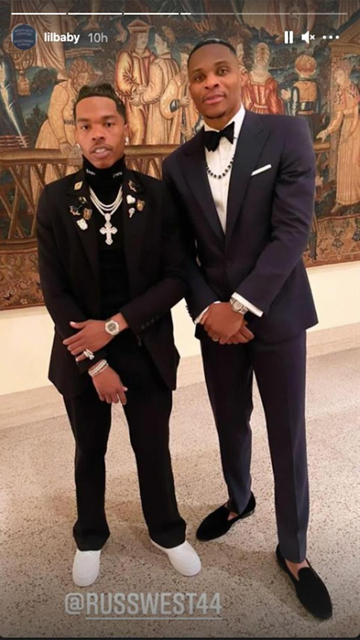 <p>Russell Westbrook and Lil Baby posed for a pic while admiring the Met's art. </p>