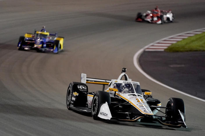 Josef Newgarden (2) drives during an IndyCar auto race at World Wide Technology Raceway on Saturday, Aug. 21, 2021, in Madison, Ill. (AP Photo/Jeff Roberson)