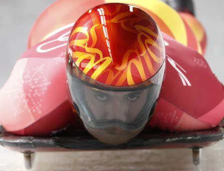 Skeleton – Pyeongchang 2018 Winter Olympics – Men's Competition – Olympic Sliding Centre - Pyeongchang, South Korea – February 15, 2018 - Ander Mirambell of Spain in action during the heat. REUTERS/Edgar Su
