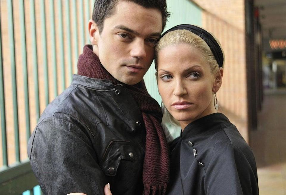 Dominic Cooper as Dave and Sarah Harding as Sam in Freefall (Nick Wall/PA) (PA Media)