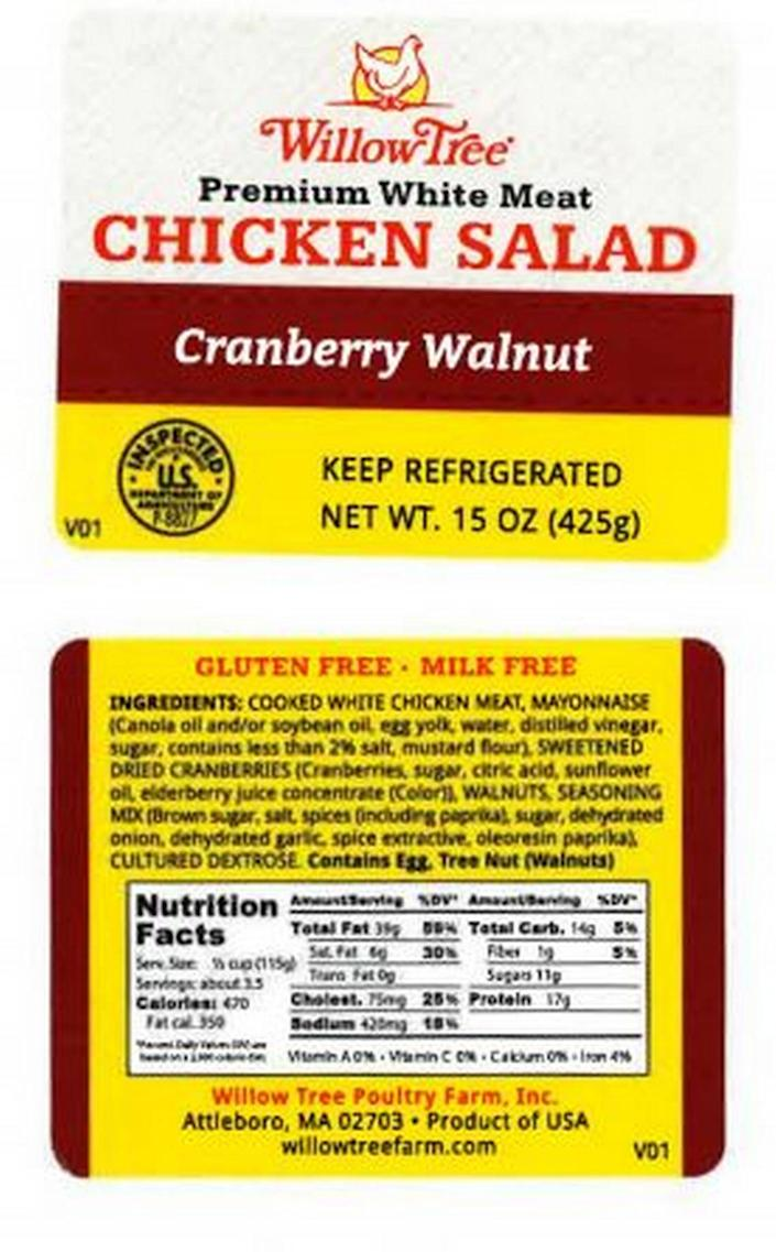 The label that should appear on the container when what's inside is Willow Tree Premium White Mean Cranberry Walnut Chicken Salad.