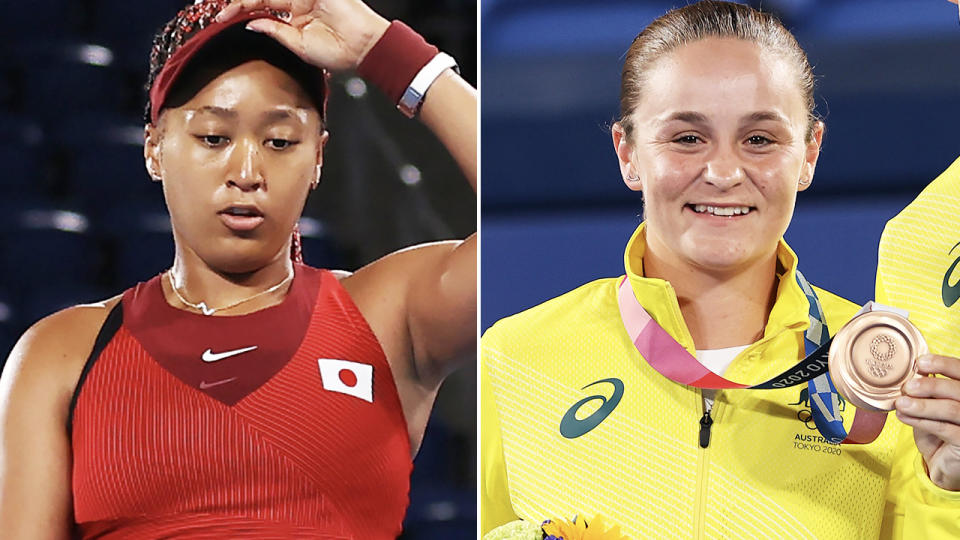 Naomi Osaka and Ash Barty, pictured here in action at the Tokyo Olympics.