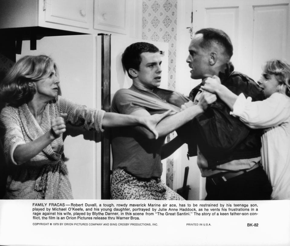 Michael O'Keefe tries to restrain Robert Duvall in a scene from the film 'The Great Santini', 1979. (Photo by Warner Brothers/Getty Images)