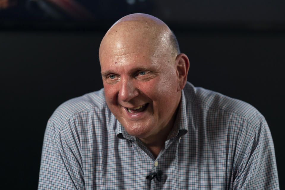 Los Angeles Clippers owner Steve Ballmer smiles while talking to a reporter during an interview with The Associated Press on Thursday, Sept. 16, 2021, in Los Angeles. (AP Photo/Jae C. Hong)