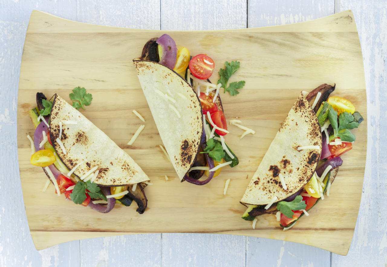 """<p>What's more fun that building tacos for dinner? And who says you need meat. Try this recipe for Honey-Lime Sweet Potato, Black Bean and Corn Tacos from the <a rel=""""nofollow"""" href=""""https://www.cookingclassy.com/honey-lime-sweet-potato-black-bean-and-corn-tacos/"""">Cooking Classy blog</a> for a break from the norm? [Photo: Getty] </p>"""