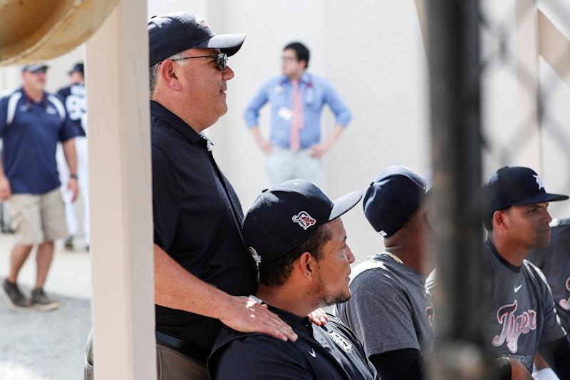 Detroit Tigers general manager Al Avila talks to Miguel Cabrera during spring training at TigerTown in Lakeland, Fla., Monday, Feb. 17, 2020.