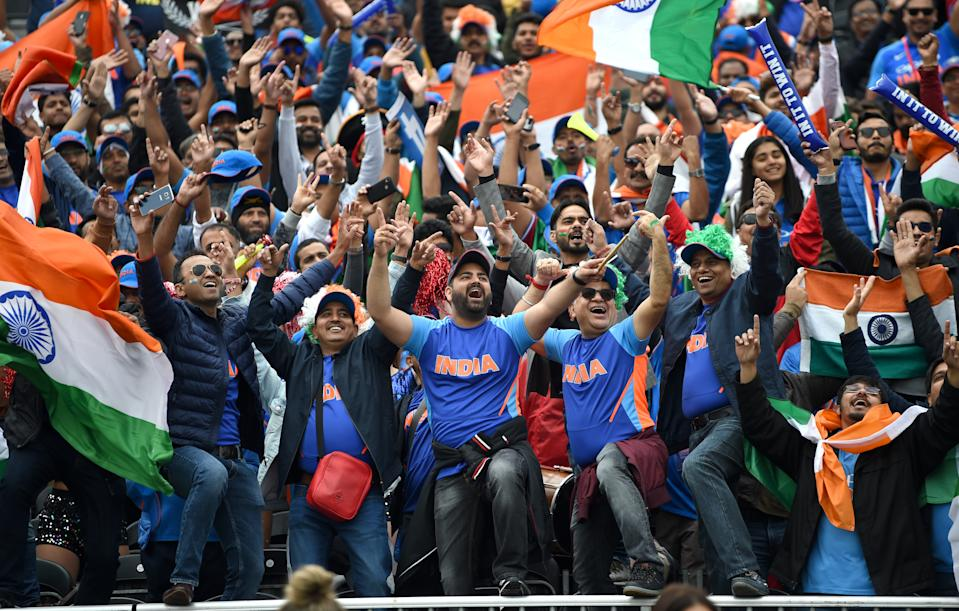 India fans loving the early boundaries (Photo by Gareth Copley-IDI/IDI via Getty Images)